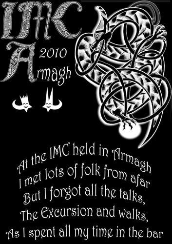 The T-shirt of the IMC 16-19 September 2010, Armagh, United Kingdom available in an endless variation of colors featuring a fascinating astromythological design and another amusing limerick by David Asher (credit organizing team).
