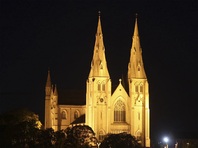 The Saint Patrick Cathedral by night (credit Bernd Brinkmann).