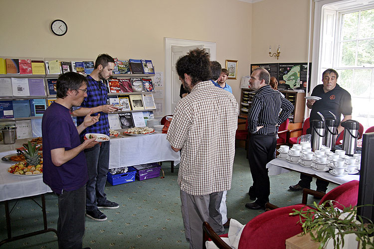 The fireball workshop prior to the IMC Martin Towner, Anastasios Margonis, Grigoris Maravelias, some hidden people, the catering man and François Colas (credit Thomas Grau).