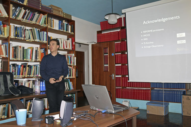The fireball workshop prior to the IMC: Jérémie Vaubaillon with his presentation (credit Thomas Grau).