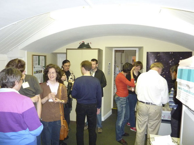 The welcome reception in the Armagh observatory, from l.to r. Irmgard Schmidt, Roland Winkler, Dagmar Winkler, Urška Pajer, Antonio Martinez, Jérémie Vaubaillon, Javor Kac, Dragana Okolic, Geert Barentsen, Richard White and Jean-Louis Rault (credit Valentin Grigore)