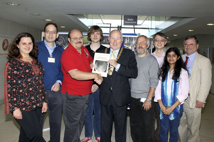 The officials from l.to r. Miruna Popescu, Apostolos Christou, William Cooke, Geert Barentsen, Jim Speers the Mayor of Armagh, Jürgen Rendtel, David Asher, Naslim Neelamkodan and Mark Bailey (credit Vincent Loughran).