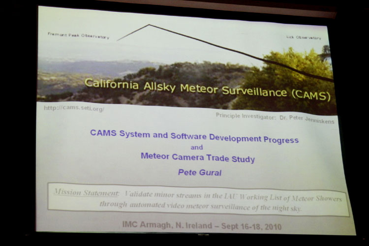 Lecture by Pete Gural: 'The California All-sky Meteor Surveillance (CAMS) System and Video Systems Trade-off Study' (credit Bernd Brinkmann).