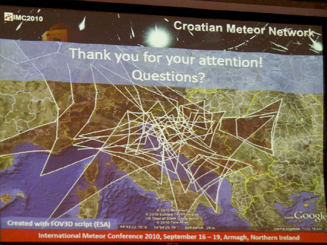 Lecture by Filip Novoselnik & Denis Vida: 'Croatian Meteor Network: data reduction and analysis' (credit Bernd Brinkmann).
