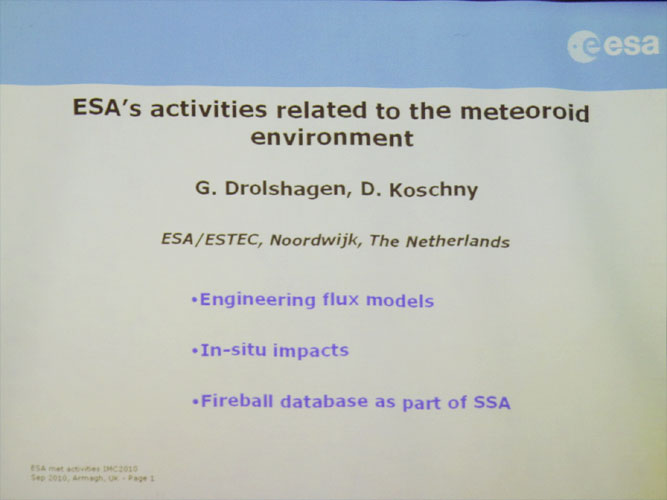 Lecture by Gerhard Drolshagen (invited): 'ESA's activities related to the meteoroid environment' (credit Bernd Brinkmann).