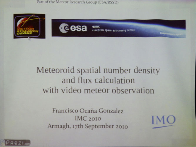 Lecture by Francisco Ocaña González: 'Algorithm to compute meteoroid flux densities and spatial number densities from video observation data' (credit Bernd Brinkmann).