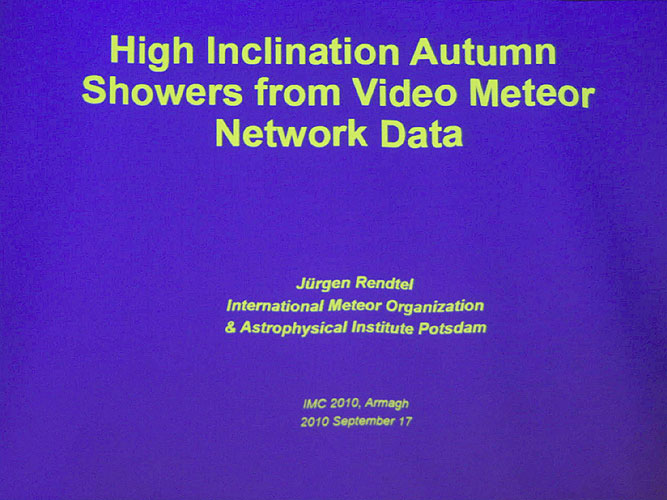 Lecture by Jürgen Rendtel: 'High-inclination autumn showers from video meteor network data' (credit Bernd Brinkmann).