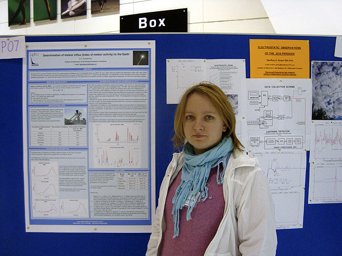 Poster session: Anna Kartashova with 'Determination of meteor influx (index of meteor activity) to the Earth' (credit Anna Kartashova).