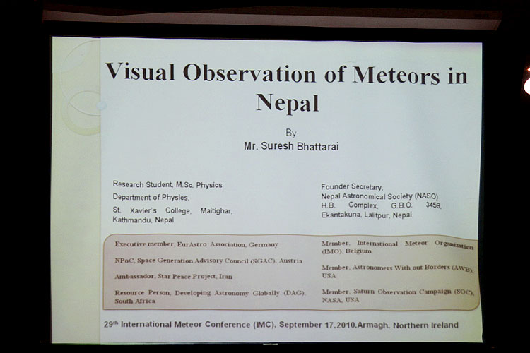 Lecture by Suresh Bhattarai: 'Visual Observation of meteors in Nepal' (credit Bernd Brinkmann).