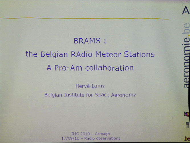 Lecture by Hervé Lamy: 'BRAMS: the Belgian RAdio Meteor Stations' (credit Bernd Brinkmann).