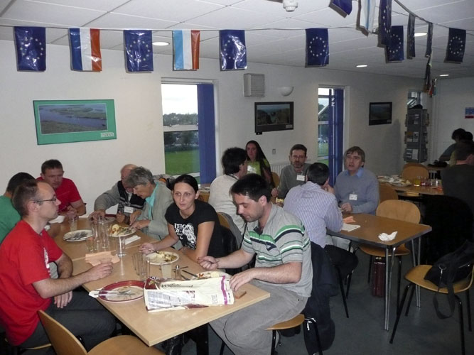 Dinner Friday evening in the Youth Hostel: from l.to r. Jan Verbert, someone hidden, Stanislav Kaniansky, Eduard Pittich, Nina Solovaya, Katya Koleva, Martin Lambert (back), Adriana Nicolae, Abedin Abedin, Chris Peterson, David Moore (back) and Malcolm Currie (credit Paul Roggemans).