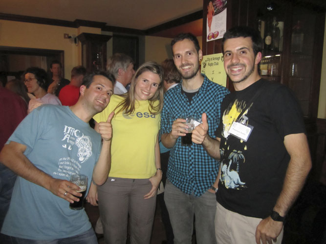 Social evening in the Turners Pub: Sylvain Bouley, Julia Marin-Yaseli de la Parra, Anastasios Margonis and Francisco Ocaña (credit Geert Barentsen).