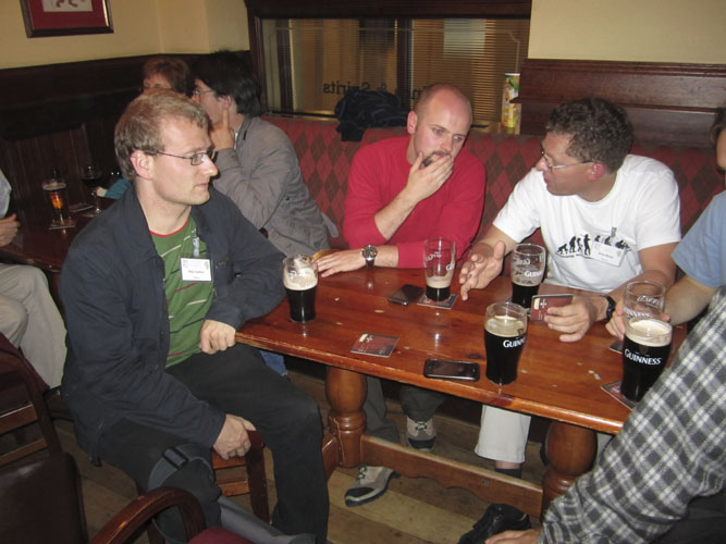 Social evening in the Turners Pub: Stijn Calders, Jonathan McAuliffe and Sirko Molau (credit Geert Barentsen).
