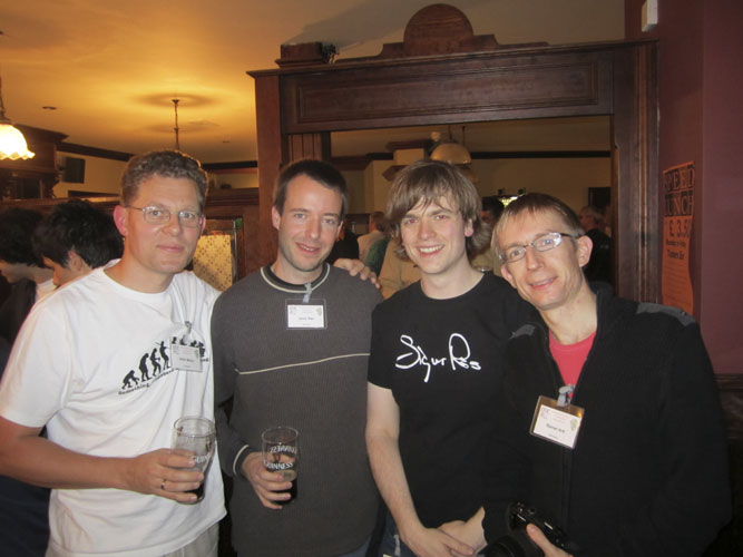 Social evening in the Turners Pub: Sirko Molau, Javor Kac, Geert Barentsen and Rainer Arlt (credit Geert Barentsen).