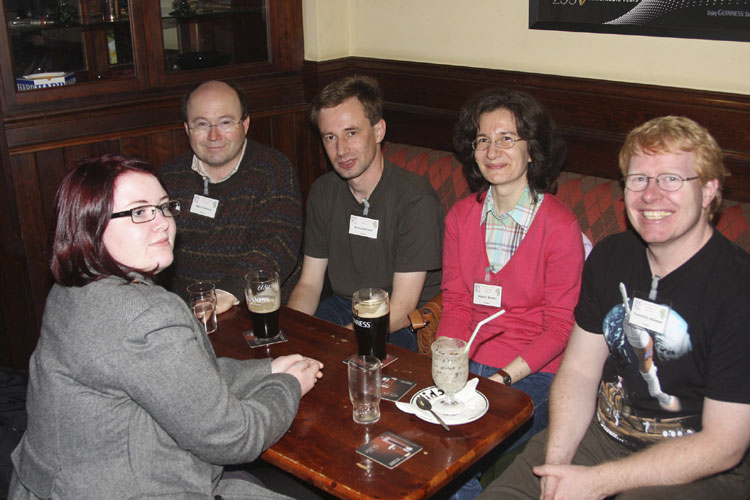 Social evening in the Turners Pub: from l.to r. Ine Hillestad Larsen, Marc Gyssens, Roland Winkler, Dagmar Winkler and Trond Erik Hillestad (credit Bernd Brinkmann).