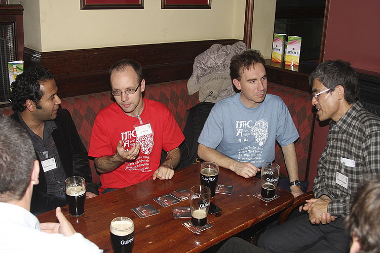 Social evening in the Turners Pub: from l.to r. Prakash Atreya, Jan Verbert, Jérémie Vaubaillon and Nagatoshi Nogami (credit Bernd Brinkmann).