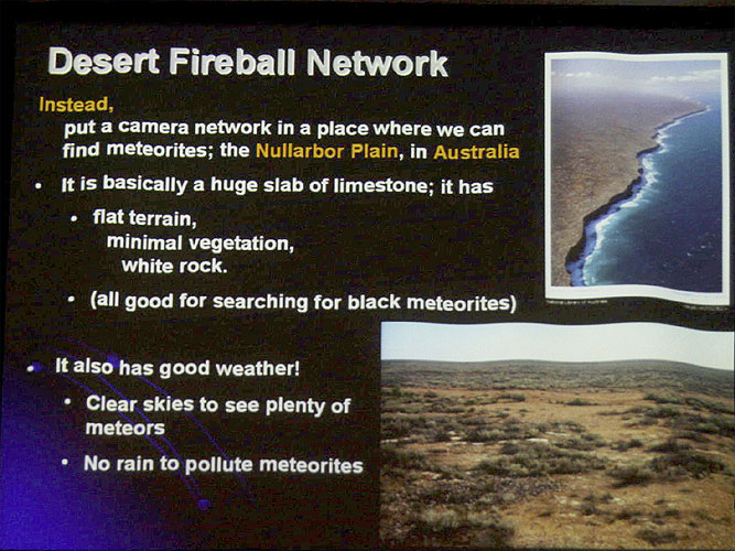 Lecture by Martin Towner:'Latest results from the Desert Fireball Network' (credit Bernd Brinkmann).