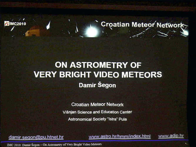 Lecture by Damir Šegon:'On astrometry of very bright video meteors' (credit Bernd Brinkmann).
