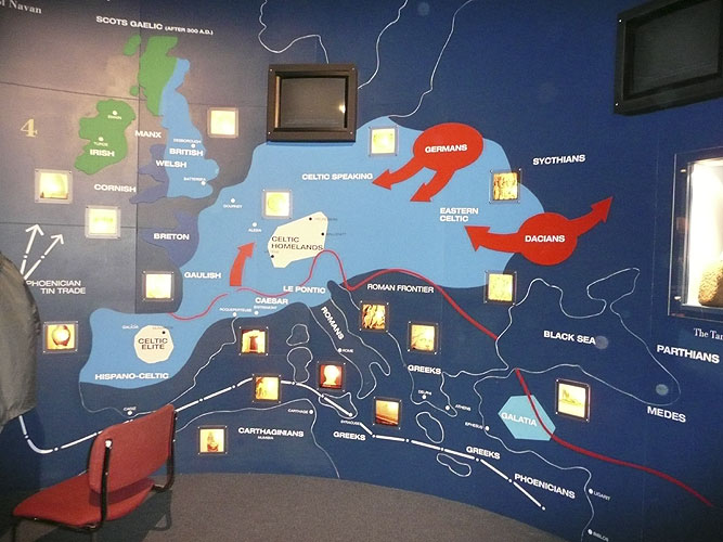 Saturday afternoon visit to Navan Centre, exhibition of the history of Navan and the archeologic finds, here a map of the people of Europe and the languages spoken at the time of the Navan habitation (credit Paul Roggemans).