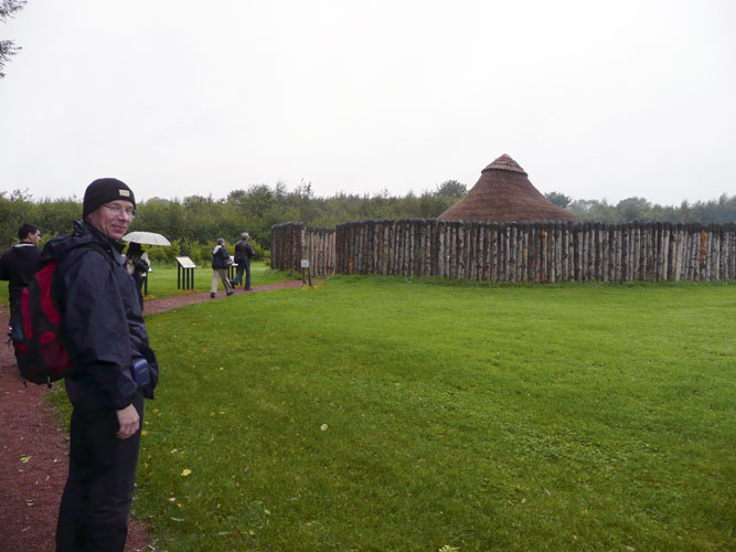 Saturday afternoon visit to Navan Centre with a reconstruction of a Navan settlement at left Paul Roggemans (credit Paul Roggemans).