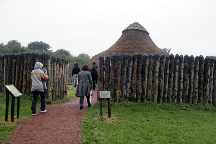 Saturday afternoon visit to Navan Centre with a reconstruction of a Navan settlement (credit Trond Erik Hillestad).
