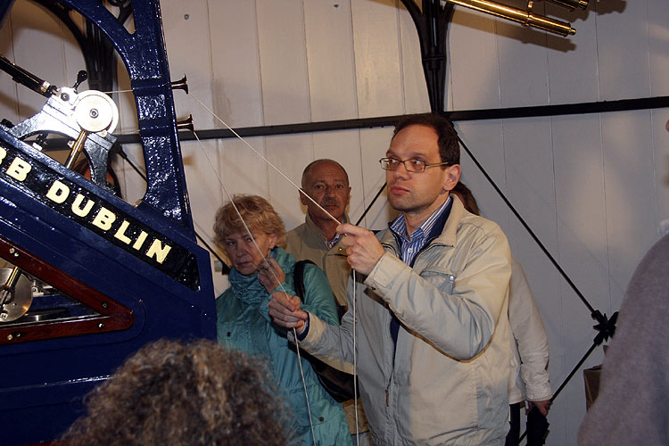 Saturday afternoon visit to Armagh observatory: Apostolos Christou demonstrating one of the telescopes, with in the background Nina Murtazova and Andrey Murtazov (credit Bernd Brinkmann).