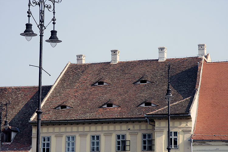 The impressive market place of Sibiu with the typical windows in the roof called the 'eyes of Sibiu' (credit Bernd Brinkmann).