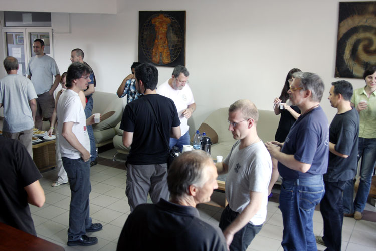 The Orbit Workshop Wednesday 14 September coffee break: from left to right in the center we see Antonio Martinez talking to Francisco Ocaña, Jean-Louis Rault, in front Leonard Kornos, Stijn Calders, Ivan Bryukhanov, Ivan Sergei and Regina Rudawska (credit Bernd Brinkmann).