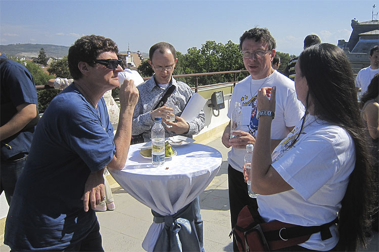 Friday noon lunch: from left to right Detlef Koschny, Sergei Schmalz, Paul Roggemans and Adriana Nicolae (credit Casper ter Kuile).