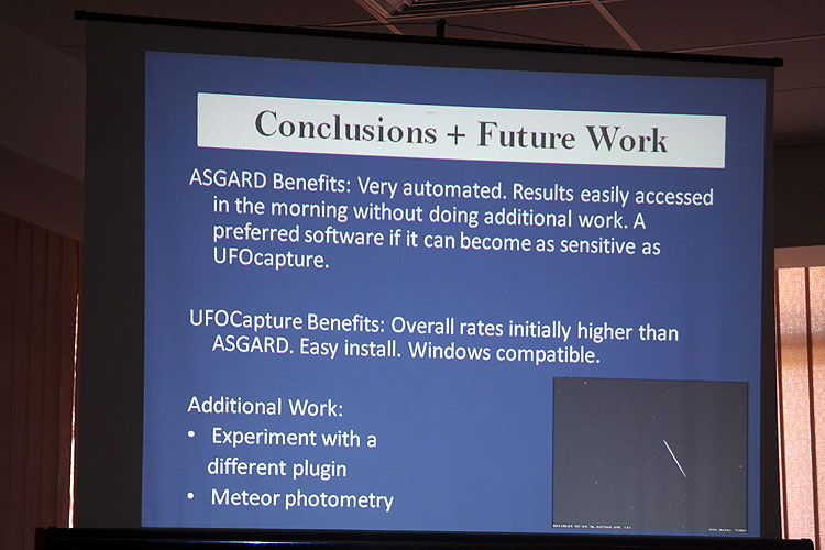 Rhiannon Blaauw with the lecture 'Comparison of Meteor Video Detection Software:Asgard vs UFOCapture' (credit Bernd Brinkmann).
