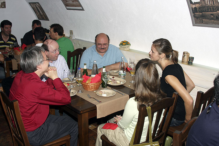 Friday evening traditional Romanian dinner in Sergiana Restaurant. From left to right David Asher, Marc Gyssens, Bill Cooke, Linda Parker (back) and Rhiannon Blaauw (credit Bernd Brinkmann).