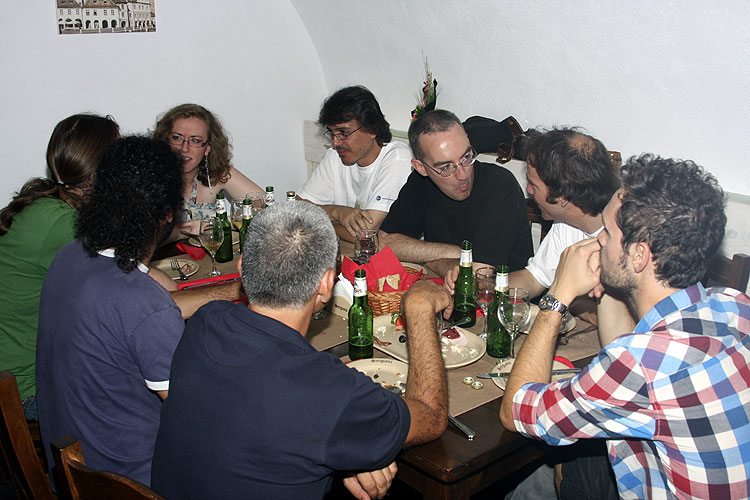 Friday evening traditional Romanian dinner in Sergiana Restaurant. From left to right Luc Bastiaens (hidden), Grigoris Maravelias (back), Nastassia Smeets, Vagelis Tsamis (back), Antonio Martinez, Tom Roelandts, Cis Verbeeck and Anastasios Margonis (credit Bernd Brinkmann).