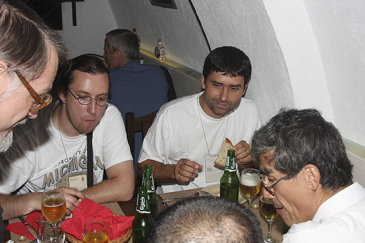 Friday evening traditional Romanian dinner in Sergiana Restaurant. From left to right Ivan Bryukhanov, Matej Korec, Juraj Toth and Nagatoshi Nogami (credit Bernd Brinkmann).