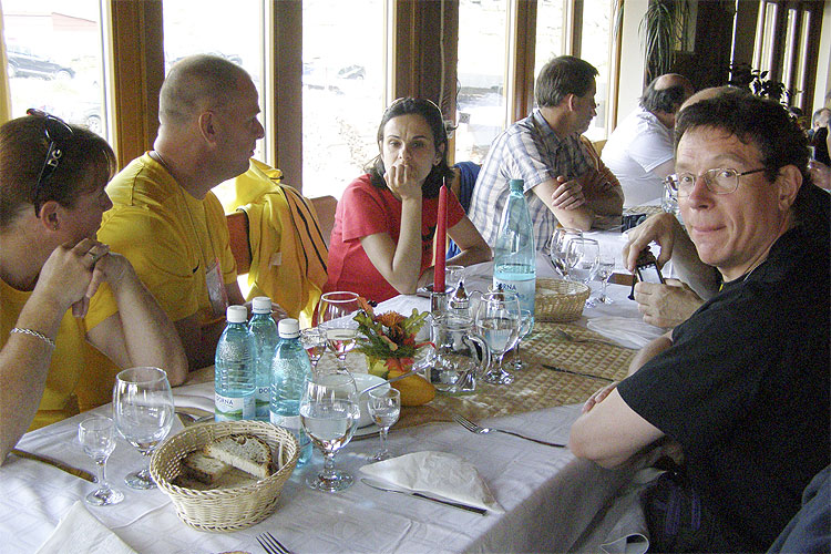 The Saturday afternoon excursion lunch at Balea Lake. From left to right: Elise Ijland, Arnold Tukkers, Diana Ogescu, Jos Nijland and Paul Roggemans (credit Adriana Nicolae).