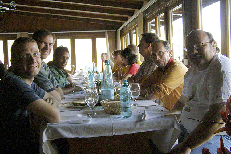 The Saturday afternoon excursion lunch at Balea Lake. From left to right: Stijn Calders, Bernd Brinkmann, Thilina Heenatigala, Jos Nijland, Christian Steyaert and Bill Cooke (credit Adriana Nicolae).