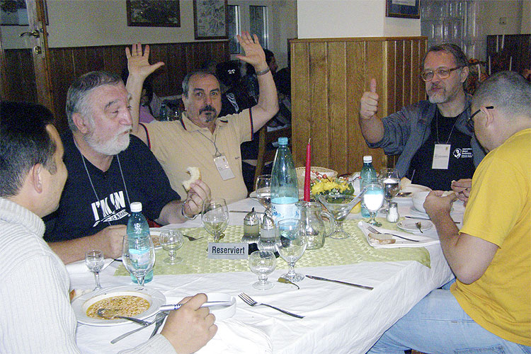 The Saturday afternoon excursion lunch at Balea Lake. From left to right: Ivan Sergei, Victor Chifelea, Petre Vlad, Ivan Bryukhanov and Gelu-Claudiu Radu (credit Adriana Nicolae).