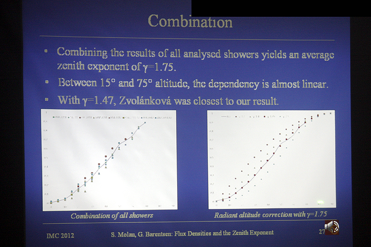 Sirko Molau's lecture 'Meteor Shower Flux Densities and the Zenith Exponent' (credit Bernd Brinkmann).