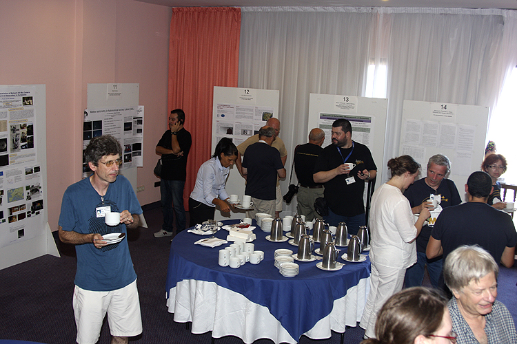 Coffee break with from left to right Jiří Borovička, José María Madiedo, Maria Gritsevich, Damir Šegon, Jeffrey Brower and Galina Ryabova (credit Bernd Brinkmann).