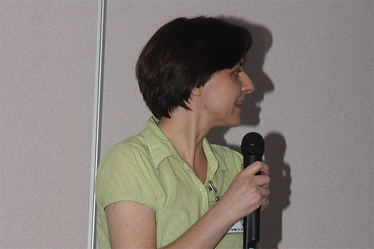 Regina Rudawska with her lecture 'Call for observation of asteroid 2012 FZ23 and its association with southern meteor shower' (credit Bernd Brinkmann).