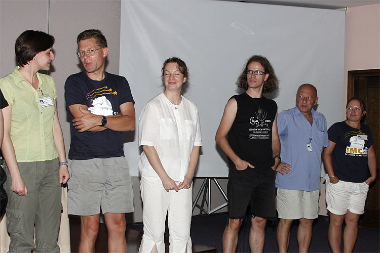 Introduction of the authors of the posters. From left to right Regina Rudawska, Sirko Molau, Maria Gritsevich, Matic Smrekar, Andrey Murzatov and Anna Kartashova (credit Bernd Brinkmann).