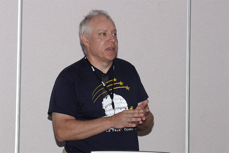 Pete Gural with the lecture: 'A Meteor Propagation Model based on Fitting the Differential Equations of Meteor Motion' (credit Bernd Brinkmann).