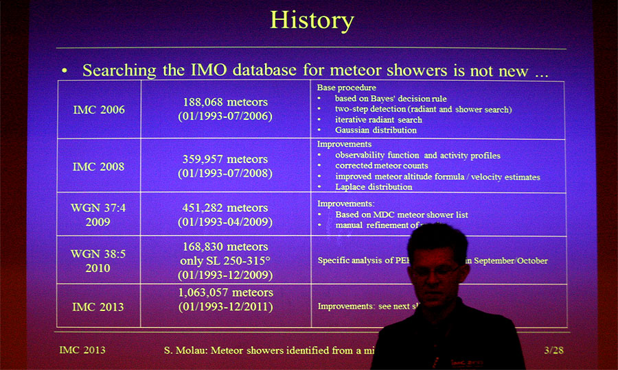 Sirko Molau: 'Meteor showers identified from a million video meteors'. (credit Bernd Klemt).