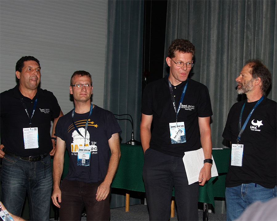 Presentation of the authors of the posters. From left to right: Abderrahmane Ibhi, Stijn Calders, Sirko Molau and Joe Zender (credit Bernd Klemt).