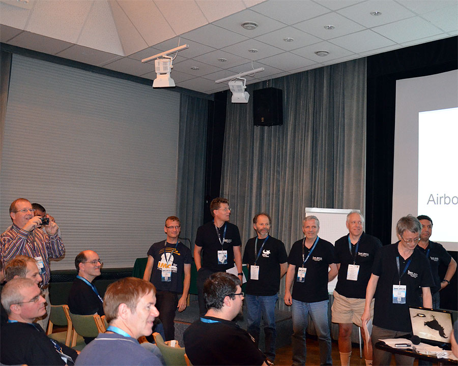 At left we see Zeljko Andreic and Peter Jenniskens during the presentation of the authors of the posters. From left to right: Stijn Calders, Sirko Molau, Joe Zender, Damir Šegon, Pete Gural, session chairman David Asher and Abderrahmane Ibhi. (credit Axel Haas).