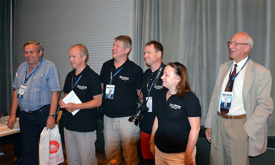 Presentation of the authors of the posters. From left to right: Ireneusz Wlodarczyk, Pavel Zigo, Roman Piffl, Stanislav Kaniansky, Anna Kartashova and Alexander Bagrov. (credit Axel Haas).