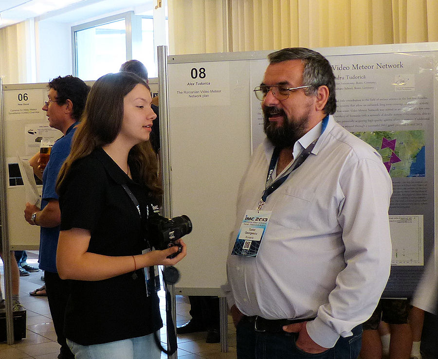 During the poster session: Ana and Tudor Georgescu at their poster 'Romanian All Sky Network - basic deployment'. (credit Irmgard Schmidt).