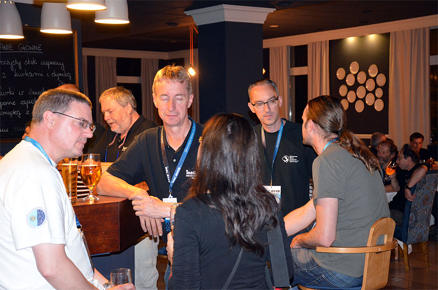 Last night of the IMC. From left to right Bill Ward, Paul Sutherland, Peter Steward, Urska Pajer (back), Tom Roelandts and Luc Bastiaens. (credit Axel Haas).