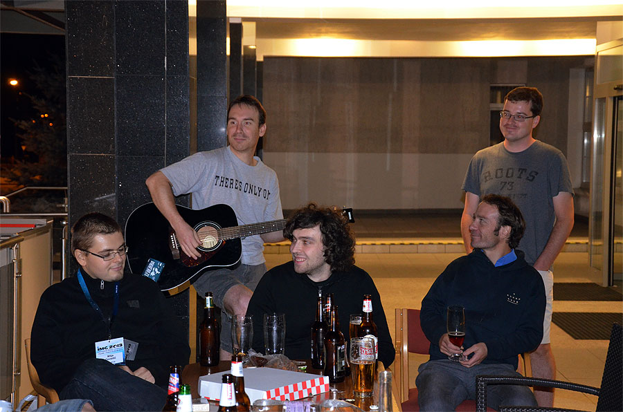 Last night of the IMC, party time with Mitja Govedič, Jérémie Vaubaillon at guitar, Janez Kos, Cis Verbeeck and Robert Wyrek. (credit Axel Haas).