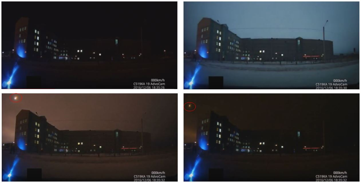 Screenshots sequence extracted from a video of the fireball recorded from Sayanogorsk, showing sky enlightenment and the fireball itself.