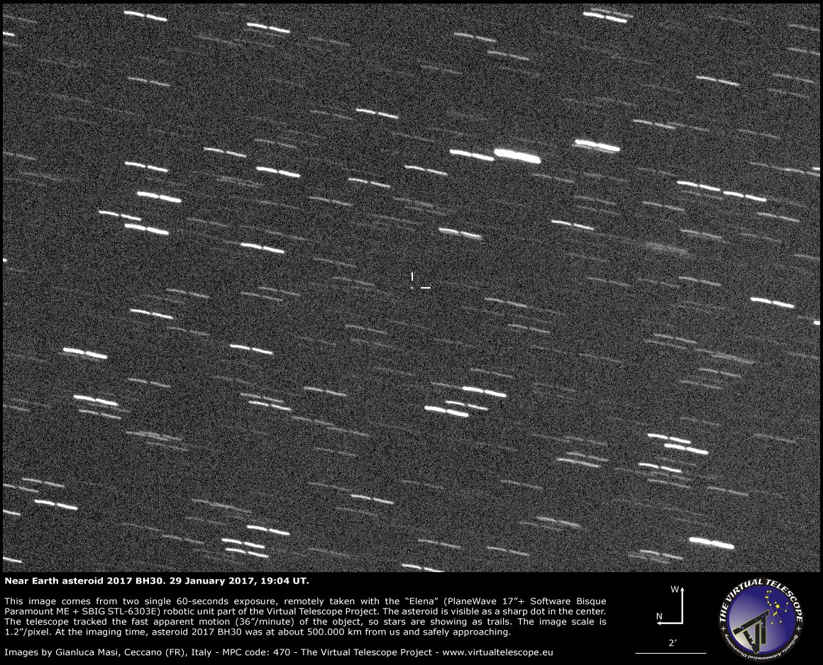 "Near Earth asteroid 2017 BH30 hotographed by Gianluca Masi, at the time it was 500 000 km, on a safe approach trajectory. At that time, the asteroid had an apparent speed of 36""/minute! Credit: Gianluca Masi, The Virtual Telescope Project"